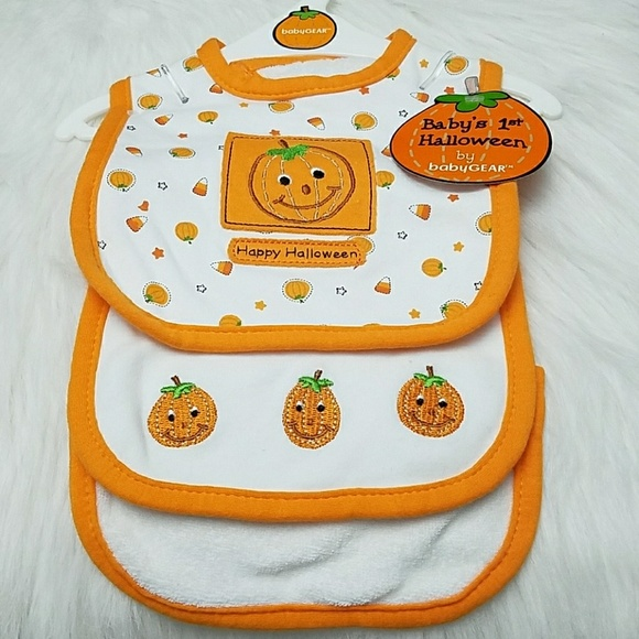nwt 3pc set babys 1st halloween bibs burp cloth